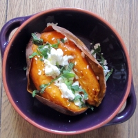 Sweet potato with feta and mint