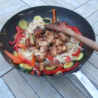 Miso marinated tofu with vegetable noodles
