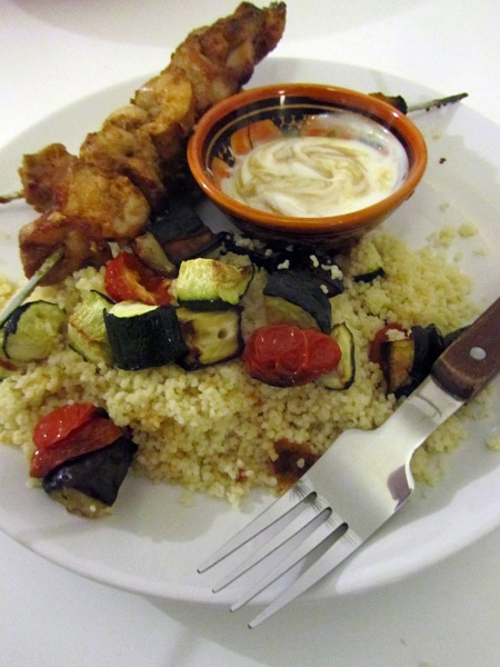 Tahini chicken skewers with vegetable couscous
