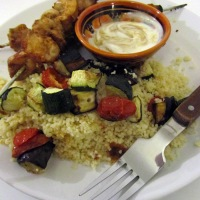 Tahini chicken skewers with grilled vegetable couscous