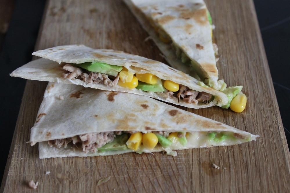 Avocado, Tuna, Sweetcorn & Cheddar Quesadilla @ healthyfoodiebaby.com
