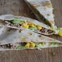 Avocado, Tuna, Sweetcorn & Cheddar Quesadilla